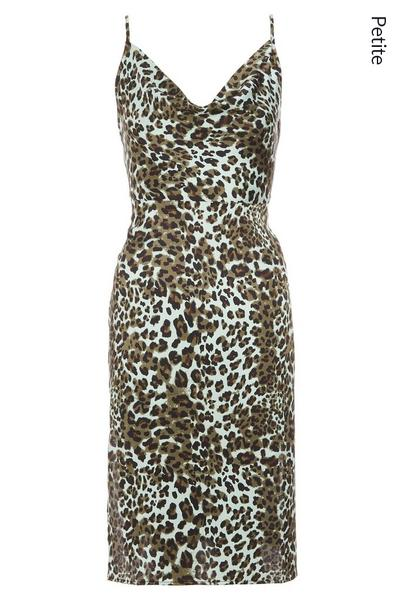 Petite Khaki Animal Print Slip Dress